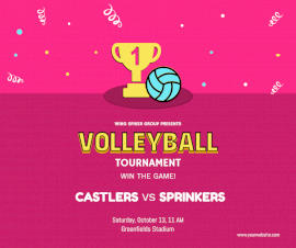 Online Editable Volleyball Tournament Poster Facebook Post