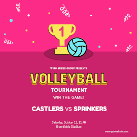 Online Editable Volleyball Tournament Poster Instagram Ad