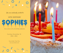 Online Editable Birthday Party Invitation Facebook Post