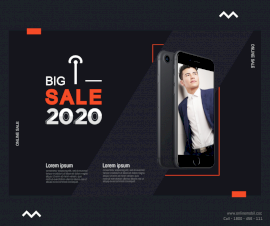 Online Editable Black Big Sale 2020 Photo Mockup