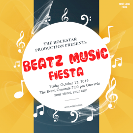 Online Editable Beats Music Fiesta Concert Social Media Post