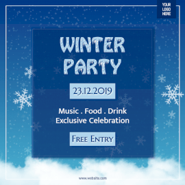 Online Editable Winter Party Invitation Social Media Post