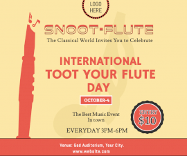 Online Editable International Toot Your Flute Day Facebook Post