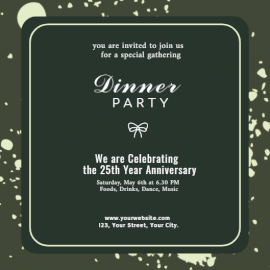 Online Editable Dinner Party Invitation