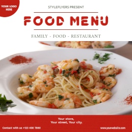 Online Editable Food Menu Cover Social Media Post