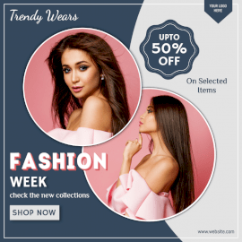 Online Editable Fashion Week Sale Social Media Post