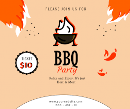 Online Editable BBQ Party Invitation Facebook Post