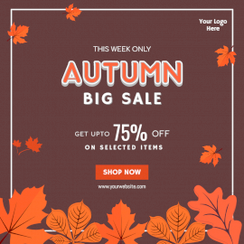 Online Editable Autumn Sale Social Media Post