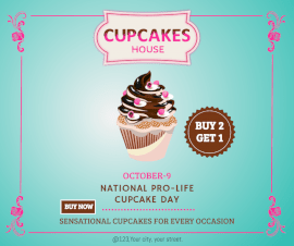 Online Editable Cupcakes House Facebook Post