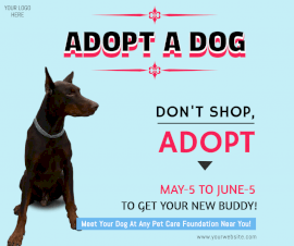 Online Editable Adopt A Dog Facebook Post