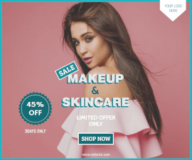 Online Editable Soft Red Makeup and Skincare Offer Facebook Post