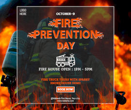 Online Editable Fire Prevention Day October 9 Fire Truck Demonstration Event Facebook Post