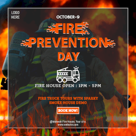 Online Editable Fire Prevention Day Fire Truck Demonstration Event Instagram Ad