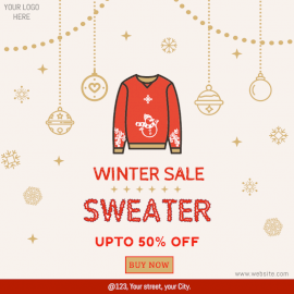 Online Editable Winter Sweater Sale Social Media Post