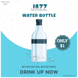Online Editable Jazz Water Bottle Social Media Post