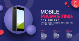 Online Editable Blue Mobile Marketing Photo Mockup