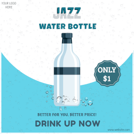 Online Editable Jazz Water Bottle Instagram Ad