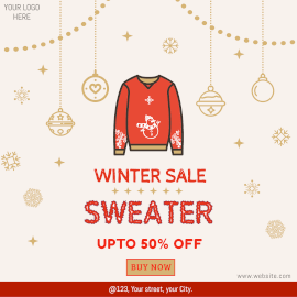Online Editable Winter Sweater Sale Instagram Ad