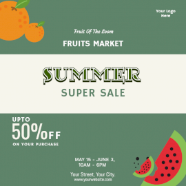 Online Editable Summer Sale on Fruits Social Media Post