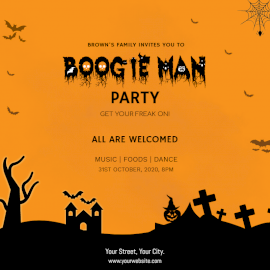 Online Editable Boogieman Party Social Media Post