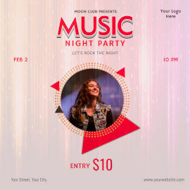 Online Editable Music Party Social Media Post