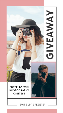 Online Editable Swipe Up Instagram Photography Contest Register Story Design