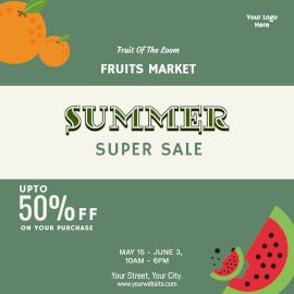 Online Editable Summer Sale On Fruits Instagram Ad