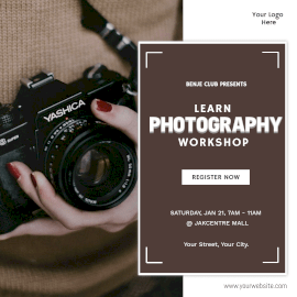 Online Editable Photography Workshop Instagram Ad