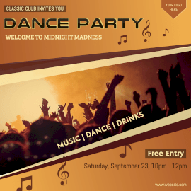 Online Editable Dance Party Invitation Instagram Ad