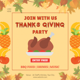 Online Editable Thanksgiving Night Social Media Post