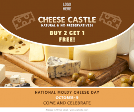 Online Editable National Moldy Cheese Day October 9 Facebook Post