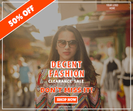 Online Editable Orange Fashion Clearance Sale Facebook Post