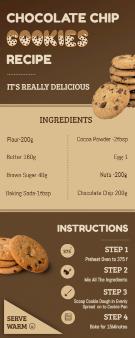 Online Editable Chocolate Chip Cookies Recipe Process Infographic
