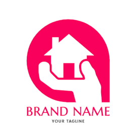 Online Editable Pink Home Builders Architecture & Construction Logo