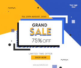 Online Editable Yellow and Blue Grand Sale Facebook Post