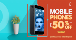 Online Editable Blue Mobile Phones Offer Photo Mockup