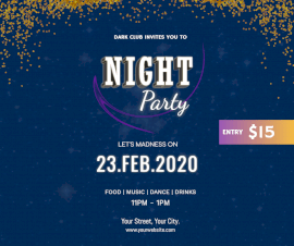 Online Editable Night Party Facebook Post