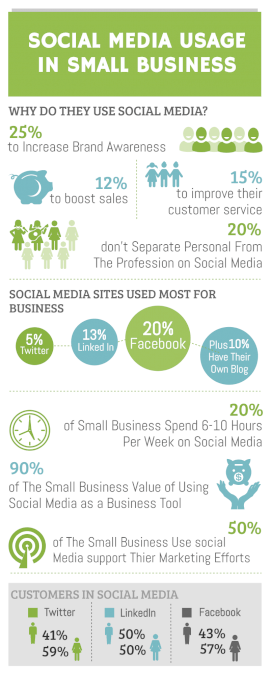 Online Editable Social Media Usage for Small Business Statistics Infographic