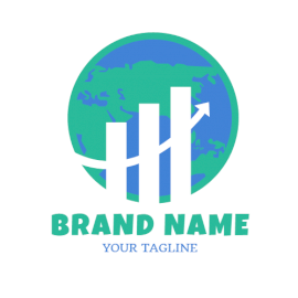 Online Editable Blue and Green Earth Marketing Logo