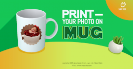 Online Editable Green Print Your Photo on Mug Photo Mockup