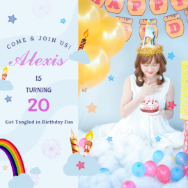 Online Editable Alexis Birthday Card Invitation