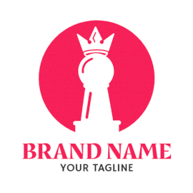 Online Editable Pink and White Chess Pawn Marketing Logo