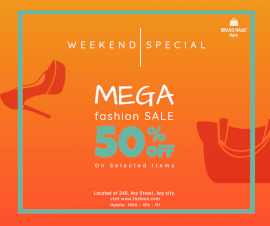 Online Editable Weekend Fashion Sale Design Facebook Post