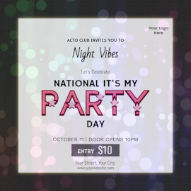 Online Editable National It's My Party Day Event Social Media Post
