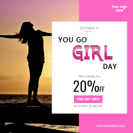 Online Editable You Go Girl Day Offers Social Media Post