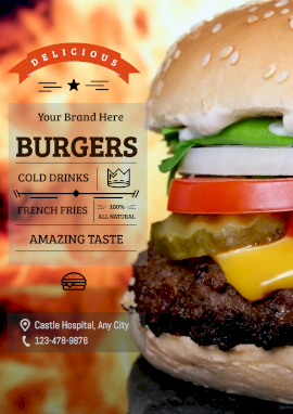 Online Editable Delicious Cheeseburger Combo Poster