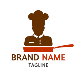 Online Editable Brown Chef on Pan Restaurant Logo