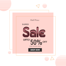 Online Editable Abstract Half Price Super Sale Facebook 3D Post