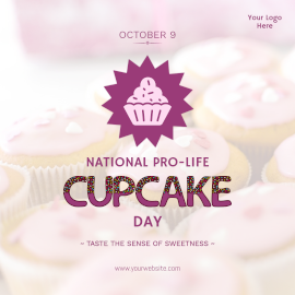 Online Editable National Cupcake Day Facebook 3D Post