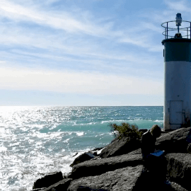 Online Editable Light House with Moving Water Cinemagraph